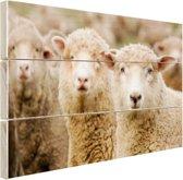 FotoCadeau.nl - Drie witte schapen Hout 80x60 cm - Foto print op Hout (Wanddecoratie)