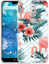 Nokia 7.1 Hoesje Flamingo Flowers