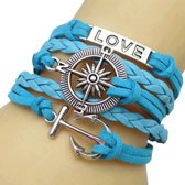 Fako Bijoux® - Multi Armband - Love Kompas Anker - Lichtblauw