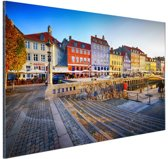 Kleurrijke huizen Kopenhagen Aluminium 120x80 cm - Foto print op Aluminium (metaal wanddecoratie)