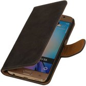 Samsung Galaxy S6 Hout Grijs - Book Case Wallet Cover Hoesje