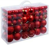 Christmas gifts Kerstballen set - 100 ballen - Plastic / Kunststof - rood
