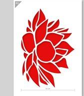 A5 Sjabloon Lelie Bloem - Karton Stencil - Breedte bloem 12cm