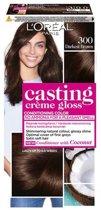 L'Oréal Paris Casting Crème Gloss Haarverf - 300 Donkerbruin - 3 stuks Voordeelverpakking