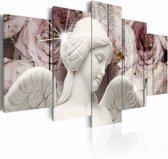 Schilderij - Engelen bestaan niet , wit  roze , 5 luik