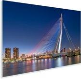 Stadsgezicht en skyline van Rotterdam met de Erasmusbrug Plexiglas 120x80 cm - Foto print op Glas (Plexiglas wanddecoratie)