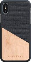 Nordic Elements Hel backcover voor Apple iPhone X/Xs -  Maple hout / donkergrijs textiel