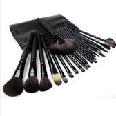 Professionele 24-delige make-up kwasten set zwart - Inclusief lederen etui - Cosmetica en Make-up