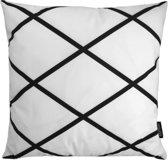 Criss Cross Square Kussenhoes | Katoen / Flanel | 45 x 45 cm | Zwart - Wit