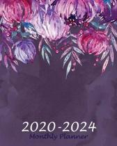 Monthly Planner 2020-2024: Purple Floral, 60 Months Appointment Calendar, Agenda Schedule Organizer Logbook, Business Planners and Journal With H
