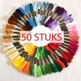 50 soorten verschillende kleuren voor kruissteken. Elke draad is 8 meter lang. Heldere levendige kleuren geschikt voor elk borduurproject.