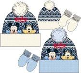Mickey Mouse blauwe/witte fleece muts + wanten maat 50