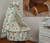 Rotan baby wiegje - Incl. beddengoedset, hemel met sluier, onderstel met wieltjes - 100% katoen - schaap