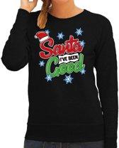 Foute kersttrui / sweater  Santa I have been good zwart voor dames - kerstkleding / christmas outfit XL (42)