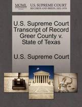 U.S. Supreme Court Transcript of Record Greer County V. State of Texas