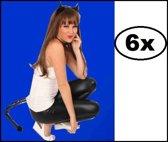 6x Kattenset zwart skai