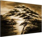 Schilderij handgeschilderd Boom | Bruin , Zwart | 120x70cm 1Luik