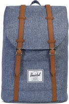Herschel Supply Co. Retreat Rugzak - Dark Chambray Crosshatch / Tan Synthetic Leather