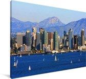 Uitzicht op het Noord-Amerikaanse San Diego Canvas 180x120 cm - Foto print op Canvas schilderij (Wanddecoratie woonkamer / slaapkamer) XXL / Groot formaat!