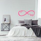Muursticker Infinity You And Me -  Roze -  160 x 60 cm  - Muursticker4Sale