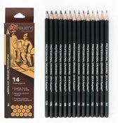 ℋephaestus ℰssentials - set 14 stuks professionele grafiet potloden - 12B 10B 8B 7B 6B 5B 4B 3B 2B 1B HB 2H 4H 6H