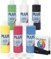 Plus Color acrylverf - Color School, 6x250 ml, primaire kleuren