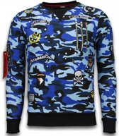 Local Fanatic Exclusief Camo Embroidery - Sweater Patches - Blauw - Maten: M