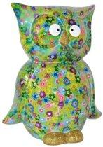 Spaarpot uil groen met bloemen print 26 cm - Pomme-Pidou dieren spaarpotten
