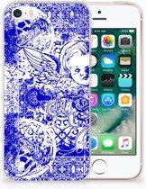 Apple iPhone SE   5S Uniek TPU Hoesje Angel Skull Blue