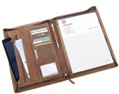 MoreThanHip Luxe schrijfmap A4 van bruin vintage ecoleer - Chester