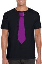 Zwart t-shirt met paarse stropdas heren M
