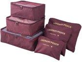 Packing Cubes - 6 stuks - Koffer Organiser - Wijnrood - Je koffer georganiseerd ingepakt