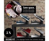 Schoenen opbergsysteem - 5 stuks - zwart - verstelbaar