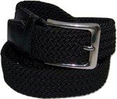 Zwart - Elastische Comfort Riem - maat120 cm - Gevlochten - 100% Elastisch - Nikkelvrije Gesp