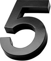 Xaptovi 3D Huisnummer 5 Materiaal: RVS - Hoogte: 20cm - Kleur: Zwart