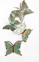 Metalen wanddecoratie met vlinders - 68 x 28 cm