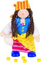 Goki Houten buigpopje piraatmeisje 11cm
