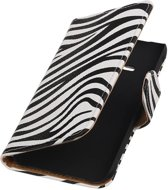 Wicked Narwal | Zebra bookstyle / book case/ wallet case Hoes voor Samsung galaxy j1 2015 Ace Wit
