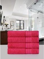 Luxe Katoen Handdoek Roze  | 50x100 | Set van 4 | Met Een Geweven Bies