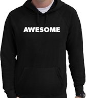Awesome hoodie zwart heren - zwarte Awesome sweater/trui met capuchon S