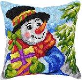 kruissteekkussen 9563 sneeuwpop met cadeautjes