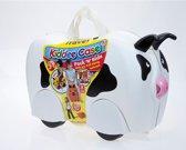 Dieren kinder koffer op wieltjes, model Koe, kleur wit