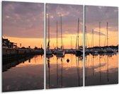 Canvas schilderij Boot | Geel, Zwart, Grijs | 120x80cm 3Luik