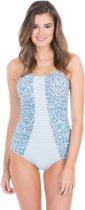 Cabana Life UV beschermend Badpak Dames - Blauw/Wit - Maat 44 (XL)