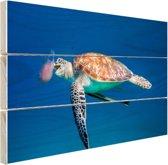 Zeeschildpad blauw water met kwal Hout 80x60 cm - Foto print op Hout (Wanddecoratie)