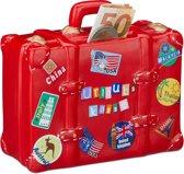 relaxdays spaarpot vakantie - spaarvarken vakantiegeld - reiskoffer - koffer - XXL - rood