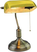 V-tac VT-7151 Bankierslamp geel glas - Retro Vintage bureaulamp - Notarislamp - E27