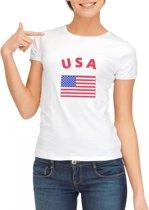 Wit dames t-shirt met vlag van USA S