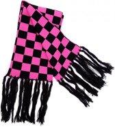 Rock Daddy Zwart Roze Geblokte Sjaal met Franjes – 140x19cm | Brede Geruite Sjaal met Harige Zijkanten | Dambord / Schaakbord Patroon | Zachte Kwaliteit Omslagdoek | Tegen Kou en Wind | Winter | Breed | Haar | Acryl