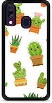 Galaxy A40 Hardcase hoesje Happy Cactus